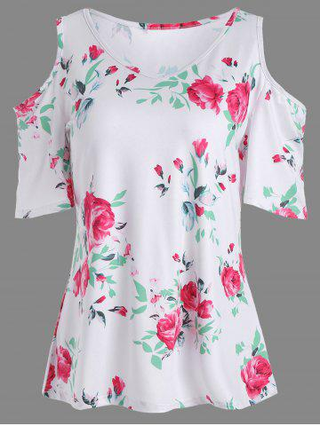 Affordable Floral Print Cold Shoulder V Neck Tee