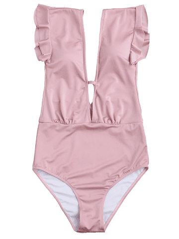 Outfit Frilled One Piece Plunge Swimsuit - L PINK Mobile