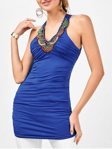 Fancy Longline Embellished Ruched Criss Cross Tank Top