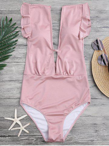 Best Frilled One Piece Plunge Swimsuit - L PINK Mobile