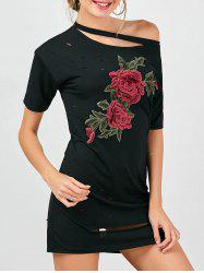 Floral Embroidered Distressed T-Shirt Beach Dress - BLACK