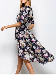 V Neck Front Slit Floral Maxi Surplice Dress
