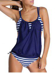 Striped Spaghetti Strap Blouson Tankini Bathing Suits - DEEP BLUE