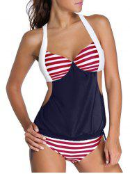 Halter Striped Hit Color Tankini Set - RED AND WHITE AND BLUE