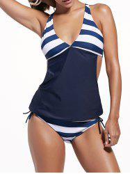 Plunging Neck Striped Padded Tankini Set - PURPLISH BLUE
