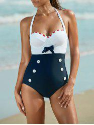 Halter Contrast Underwire Bra One Piece Swimsuit