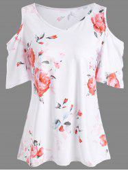 Floral Print Cold Shoulder V Neck Tee - JACINTH
