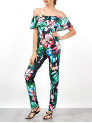 Palm Floral Print Flounce Off Shoulder Jumpsuit - BLACK