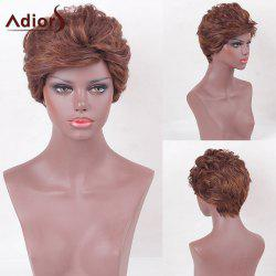 Adiors Short Side Bang Layered Shaggy Slightly Curly Synthetic Wig