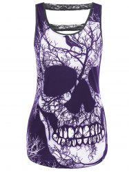 Lace Panel Cut Out Skull Tank Top