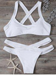 Criss Cross Cut Out Bikini - Blanc