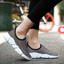 Color Block Breathable Athletic Shoes - BLACK