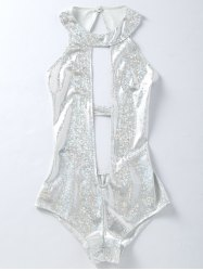 Backless Plunging One Piece Holographic Fabric Swimsuit