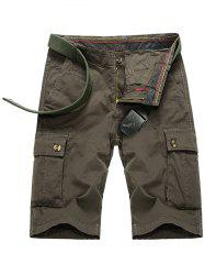 Zipper Fly Button Pockets Cargo Shorts