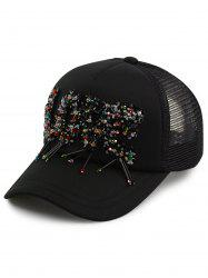 Multicolor Beaded Letter Embellished Baseball Cap