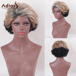 Adiors Short Side Bang Two Tone Shaggy Curly Synthetic Wig v