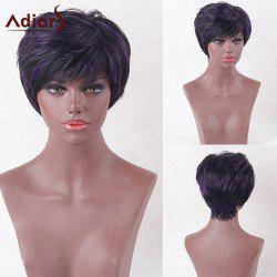 Adiors Side Bang Glossy Short Straight Highlight Synthetic Wig