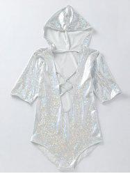Plunging Half Sleeve Holographic Fabric Hooded Swimsuit