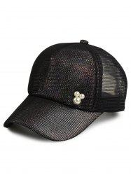Mesh Splicing Faux Pearl Twinkling Baseball Hat