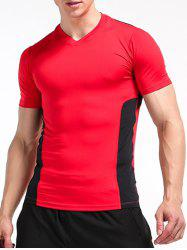 Stretchy Color Block Openwork Panel Fitness T-Shirt - Rouge