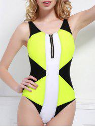 Sexy V-Neck Zippered Color Block One-Piece Women's Swimwear - BLACK AND GREEN
