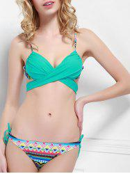 Cheeky Spaghetti Strap Geometric Bikini Set For Women - LAKE BLUE