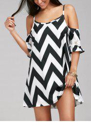 Casual Zigzag Cold Shoulder Mini Tunic Dress - Blanc Et Noir