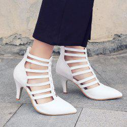Zipper Strappy Pointed Toe Pumps
