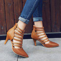 Zipper Strappy Pointed Toe Pumps - LIGHT BROWN