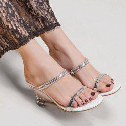 Transparent Strange Heel Metal Detail Slides Sandals