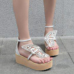 Ankle Strap Butterfly Pattern Wedge Heels Sandals