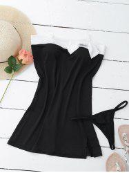 Slit Side Design Color Block Bow Tie Embellished Strapless Women's Swimwear - BLACK