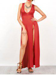 Empire Waist High Split Nightclub Maxi Dress