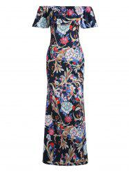 Floral Print Off Shoulder Flounce Maxi Dress