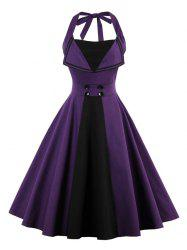 Backless Buttoned A Line Halter Vintage Dress - PURPLE