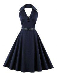 Buttoned Backless Skater Vintage Dress - PURPLISH BLUE