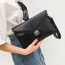 Envelope Studded Wristlet Clutch Bag - BLACK