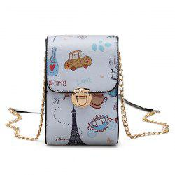 Push Lock Print Mini Crossbody Bag - GRAY