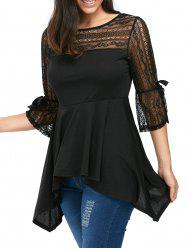 Lace Insert Empire Waist Handkerchief Peplum Top
