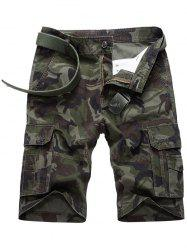 Flap Pocket Camouflage Cargo Shorts - ARMY GREEN