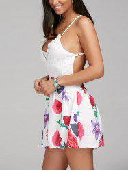 Sleeveless Criss Cross Backless Floral Romper - COLORMIX S