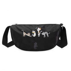 Cartoon Cat Embroidered Satin Crossbody Bag