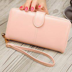PU Leather Stitching Eyelet Detail Clutch Wallet