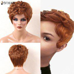 Siv Hair Side Bang Short Slightly Curly Human Hair Wig