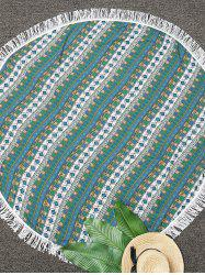 Round Fringe Geometric Print Beach Throw
