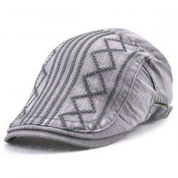 Stripe Rhombic Plaid Embroidery Newsboy Hat