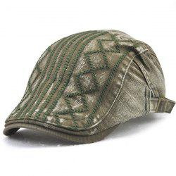 Stripe Rhombic Plaid Embroidery Newsboy Hat - ARMY GREEN