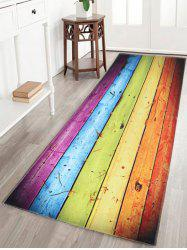Rainbow Wood Grain Print Skid Resistant Bathroom Rug - COLORFUL