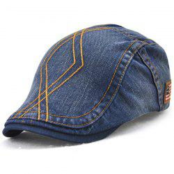 Rhombic Embroidered Nostalgic Denim Flat Cap - DENIM BLUE