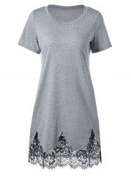 Lace Hem Scalloped Edge Tee Dress - GRAY